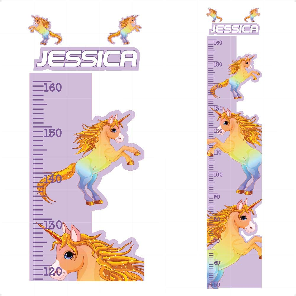 Personalised Unicorn Height Chart Animals Nursery Wall Stickers -Colourful Cute Wall Art Decal for Height Measure|Perfect for Girls Bedroom or Baby Nursery| StickersMagic