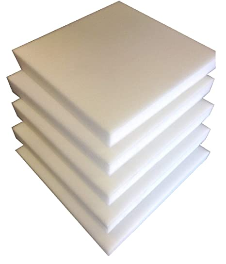 Lote de 5 placas de espuma de poliuretano para tapicería, 40 x 40 x 3