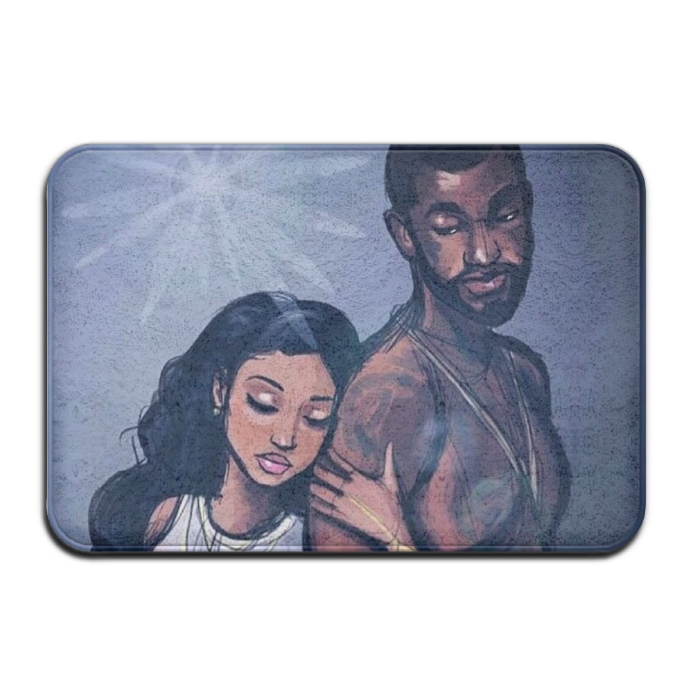 1 Piece Smart Dry Memory Foam Bath Kitchen Mat For Bathroom - African American Lovers Couple Painting Art Shower Spa Rug 18x30 Door Mats Home Decor With Non Slip Backing - 3 Sizes