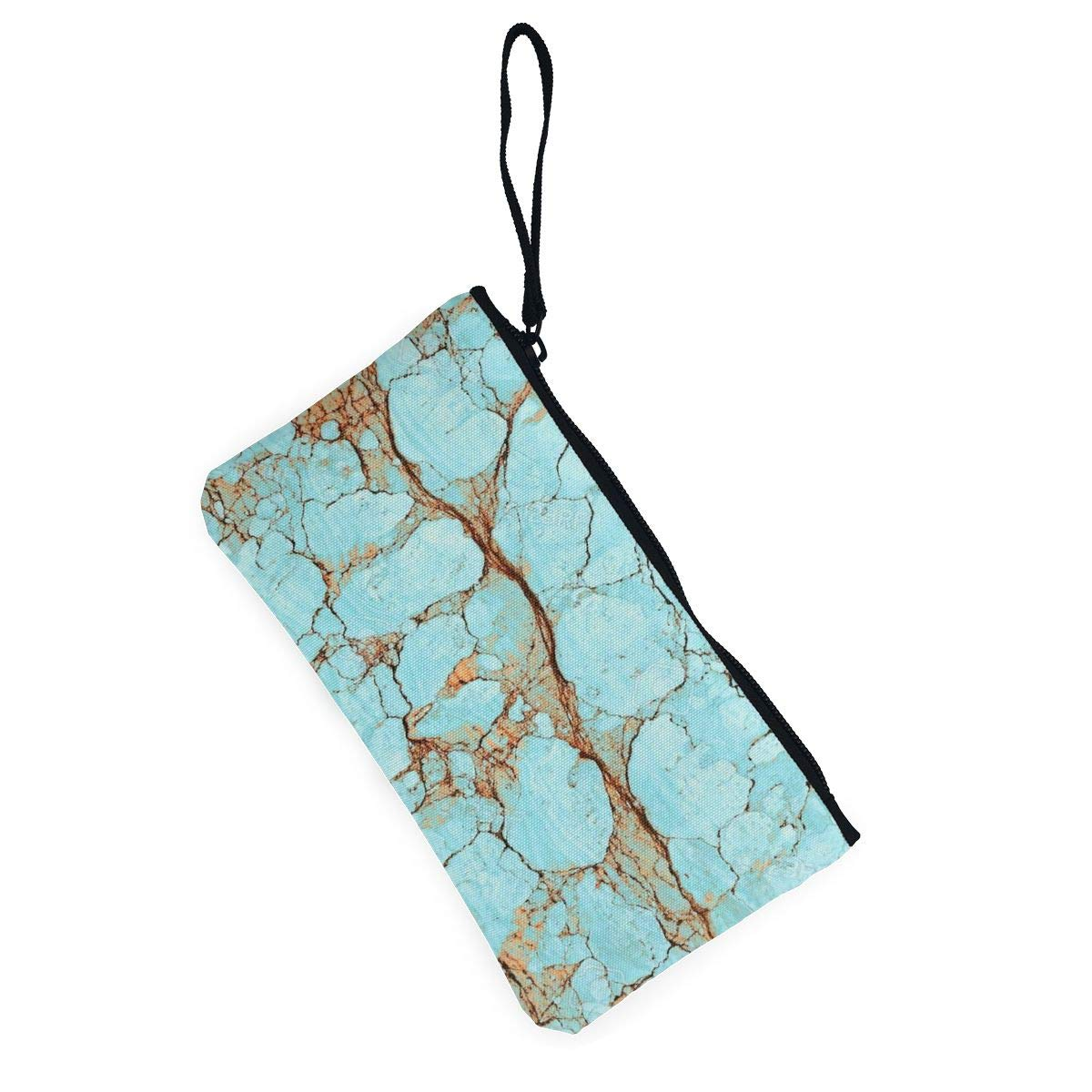 Rusty Cracked Turquoise Marble Womens Canvas Coin Purse Mini Change Wallet Pouch-Card Holder Phone Wallet Storage Bag,Pencil Pen Case