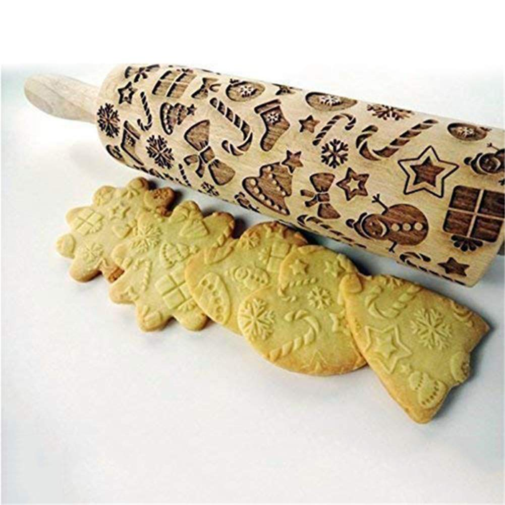 Tulas Christmas Gift Pattern Embossing Rolling Pin for DIY Kitchen Gingerbread Cookies S