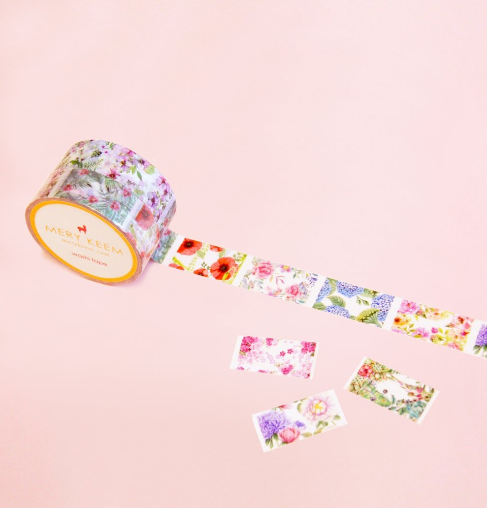 Vintage Flowers Perforated Washi Tape for Planning • Scrapbooking • Arts Crafts • Office • Party Supplies • Gift Wrapping • Colorful Decorative • Masking Tapes • DIY