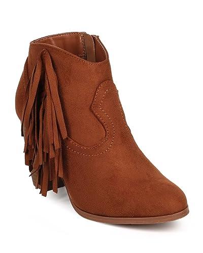DH35 Women Suede Almond Toe Vertical Fringe Western Ankle Bootie - Cognac