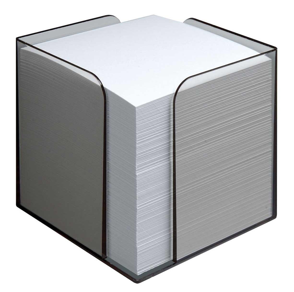 Jalema 2299170000 - Cubo con foglietti, circa 850 foglietti di carta senza legno da 80 g/mq inclusi nella confezione, struttura in polistirolo, trasparente