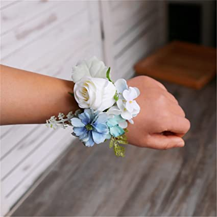 Amazon.com: Flores artificiales de rosa blanca novio ...