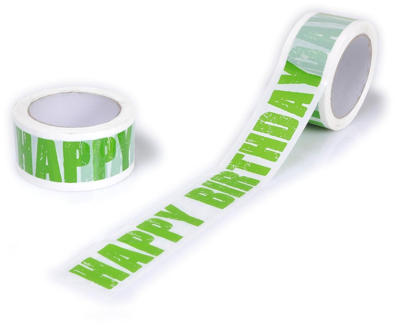 1 X Rolle Design Paketband  HAPPY BIRTHDAY gr/ün Neu 50 mm x 66 Meter Klebeband