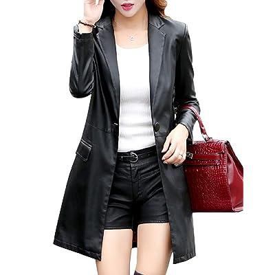 Tanming Womens Casual Lapel Long Leather Jacket Suit Coat Windbreaker Trench Coat at Women's Coats Shop