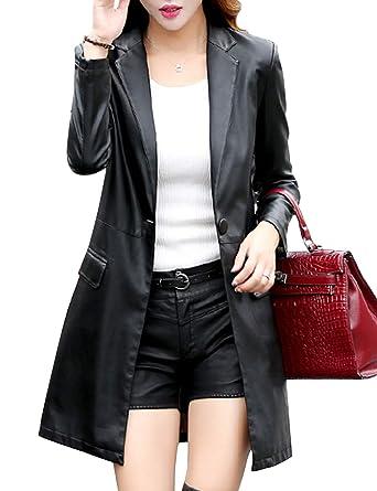 Tanming Womens Casual Lapel Long Leather Jacket Suit Coat Windbreaker  Trench Coat (Black fc4188d01