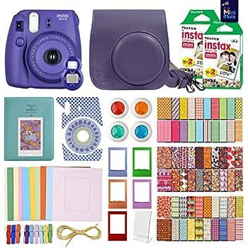 MiniMate Instax Mini 8 Camera with 40 Instax Film and Accessory Bundle, Purple