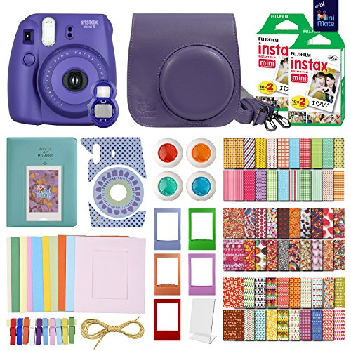 MiniMate Instax Mini 8 Camera with 40 Instax Film and Accessory Bundle, Purple by MiniMate