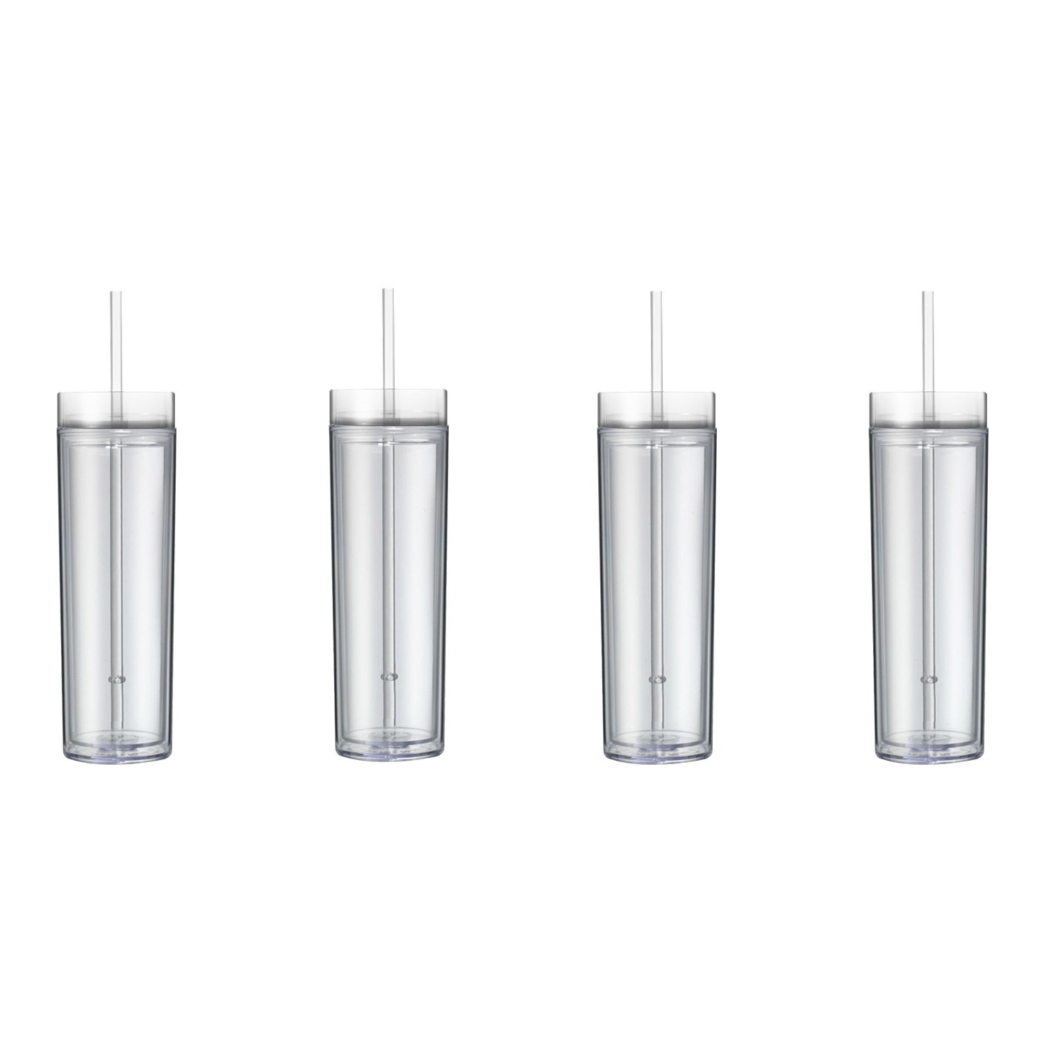 Maars Classic Insulated Skinny Tumblers 16 oz. | Double Wall Acrylic | Clear - 4 pack