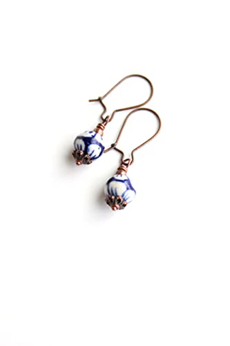 Amazoncom Blue Floral Ceramic Earrings Copper Jewelry