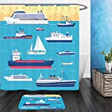 Vanfan Bathroom 2 Suits 1 Shower Curtains &  1 Floor Mats Set of flat yacht, scooter, boat, cargo ship, steamship, ferry, fishing boat, tug, bulk carrier, vessel, pleasure boat, cruise ship with blue