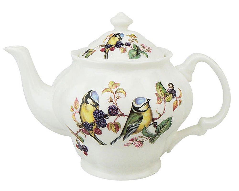 Gracie Bone China by Coastline Imports 5-Cup Teapot, Blue Head Birds S14180-1