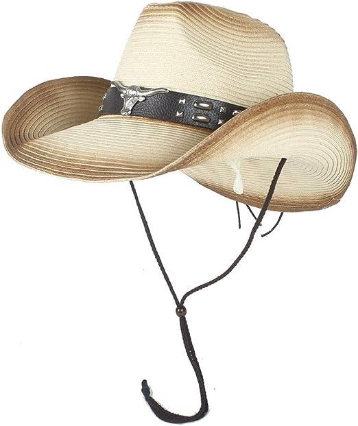 XueQing Pan Sombrero de Vaquero Occidental para Hombre, de Paja de ...