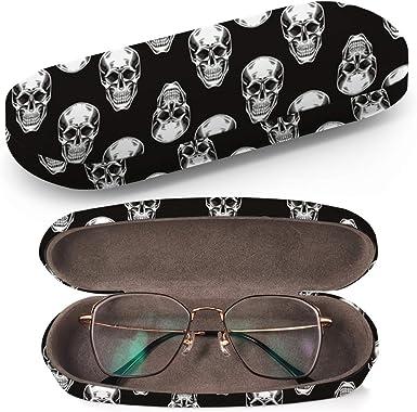 Art-Strap Funda rígida para gafas, estuche para gafas de sol, caja de plástico Clamshell, con paño de limpieza para gafas (calaveras en negro): Amazon.es: Ropa y accesorios