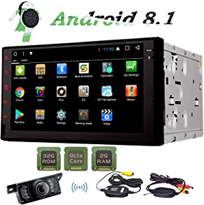 Android 8.1 Car GPS Navigation Double Din Car Stereo Octa Core 2 Din AM FM RDS Radio Touch Screen Support WiFi 4G Mirror Link Bluetooth Subwoofer SWC OBD2 DVR Video Out Free Wireless Rear View Camera