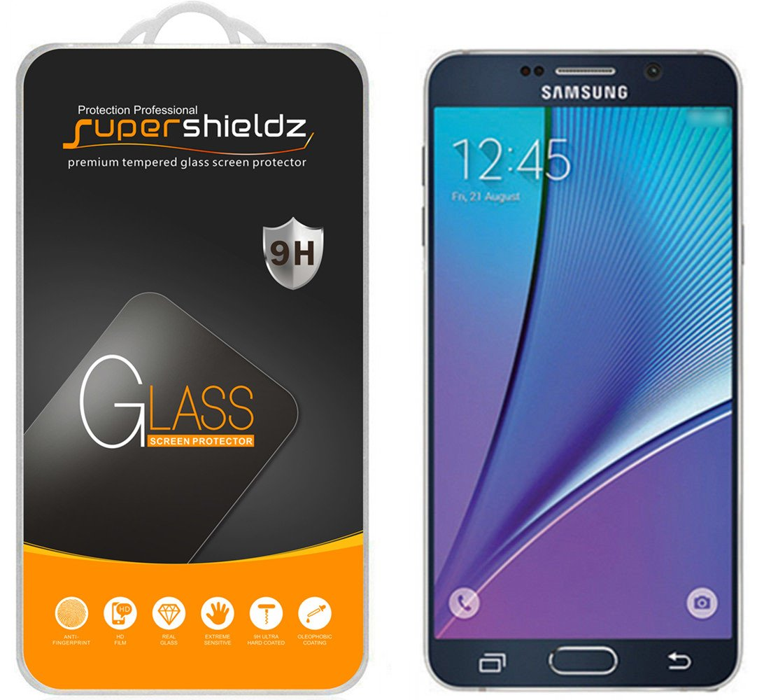 Supershieldz for Samsung Galaxy Note 5 Tempered Glass Screen Protector, Anti Scratch, Bubble Free