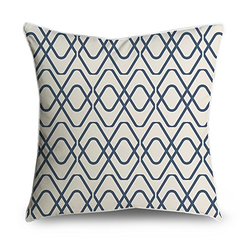 FabricMCC Throw Pillow Cover Navy Blue Trellis Square Accent