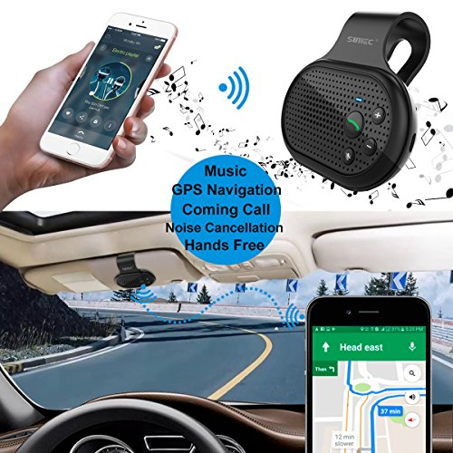 Bluetooth Hands Free Car Speakerphone, SUNITEC Bluetooth Visor Car Kit In-Car Phone Speaker AUTO POWER ON Support GPS, Music and HandsFree Calling for iphone, Samsung and Smartphones [2 Year Warranty] by Sunitec (Image #5)
