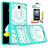 LG Stylo 2 / Stylus 2 / G Stylo 2 Clear Case with HD Screen Protector, AnoKe Scratch Resistant Colorful Mandala Flower Dream Catcher Slim Hard Cover TPU Bumper Hybrid Protective LS775 CH TM Mint