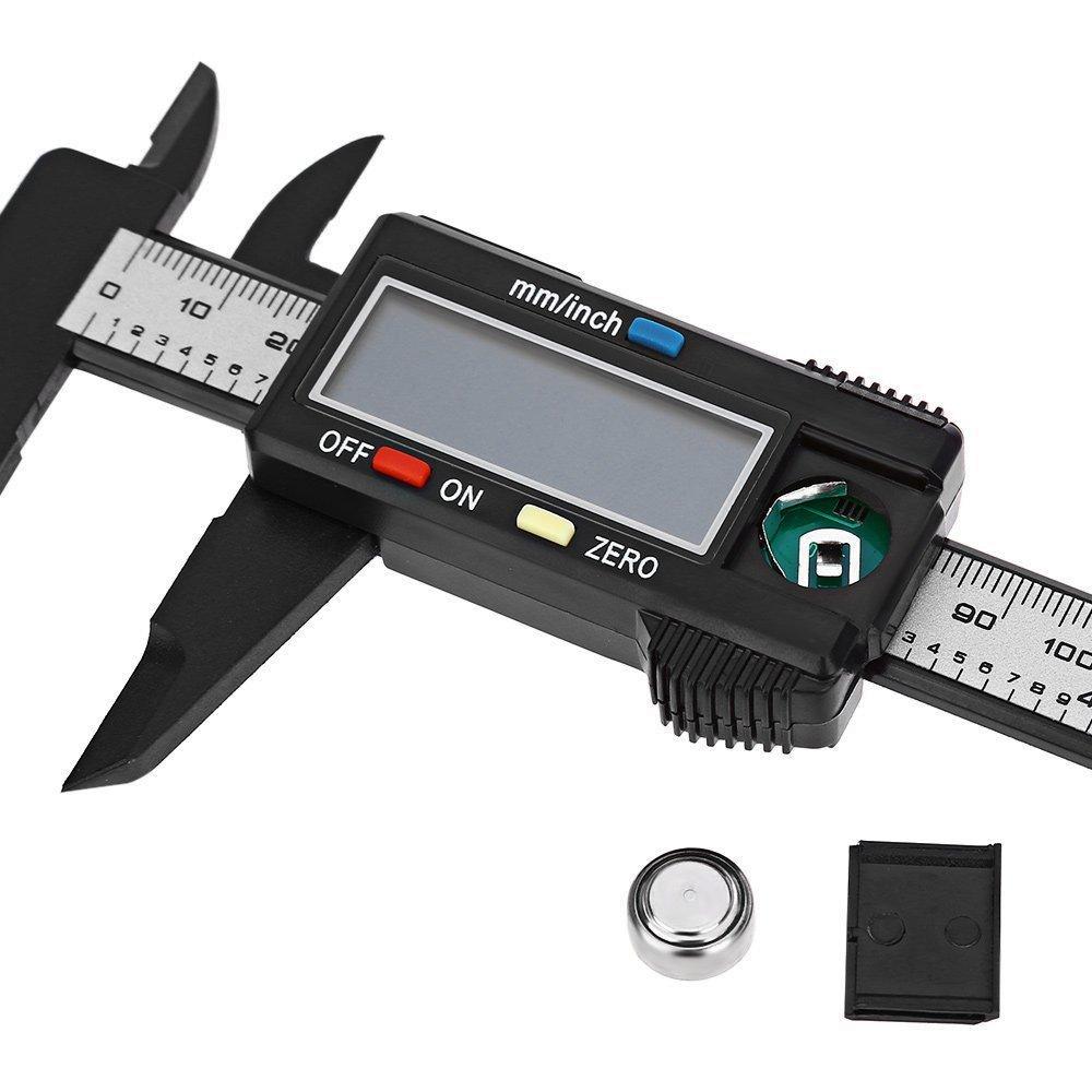 Yakamoz 0-150mm LCD Pied /à Coulisse Num/érique /Étrier Plastique Vernier Calibre /à Coulisse Avec /Écran Grand Mesurer Diam/ètre Int/érieur Diam/ètre Ext/érieur Profondeur et Etape Pr/écision: