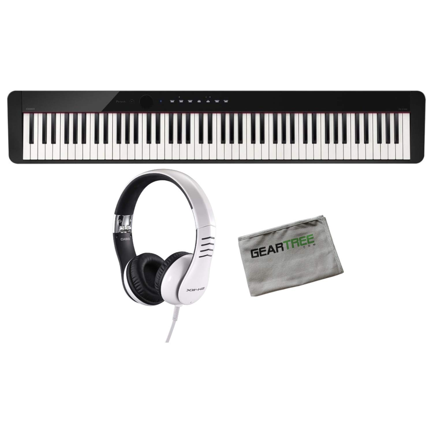 Casio PX-S1000BK 88 Weighted Key Digital Piano w/Casio X2-H2 Headphones and Pol by Casio