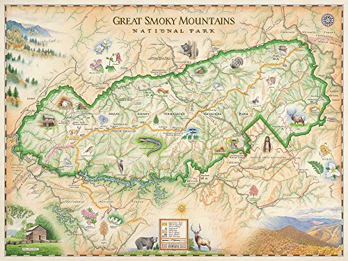 (Xplorer Maps Great Smoky Mountain National Park Map - Authentic Hand Drawn Map - Lithographic Fine-Art Print)