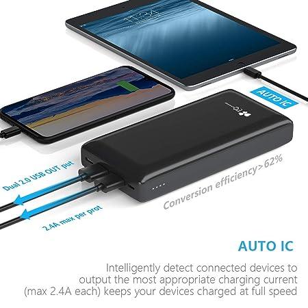 EC TECHNOLOGY Bateria Portatil Movil PowerBank 26800amh de Bateria Externa de Cargador Externo de Carga Rapida de 2 Puertos de 2.4A de Output USB C y ...