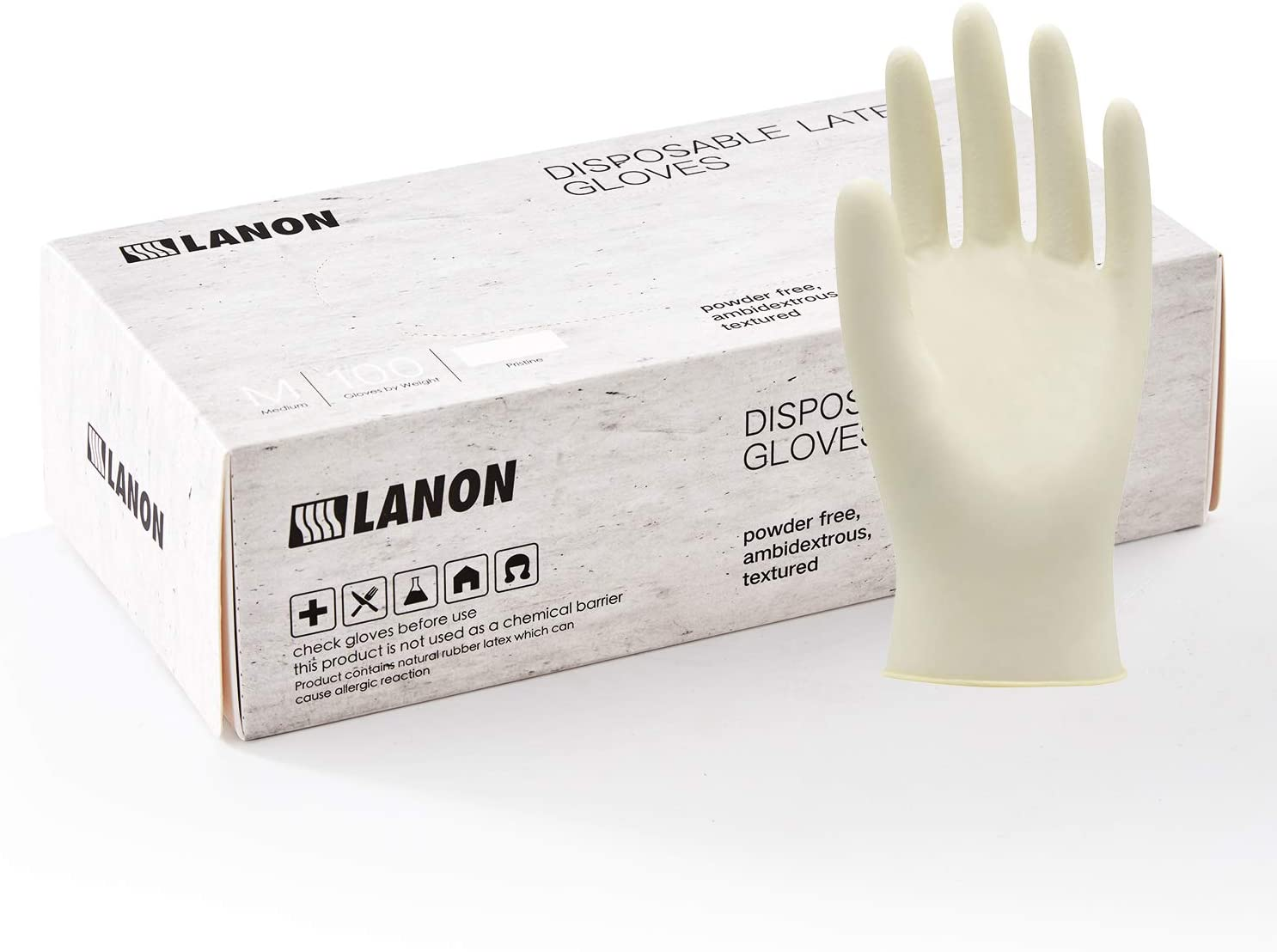 LANON 100 Count Latex Disposable Gloves Food Grade with Fully Textured, 5 mil, Powder Free, White, Medium