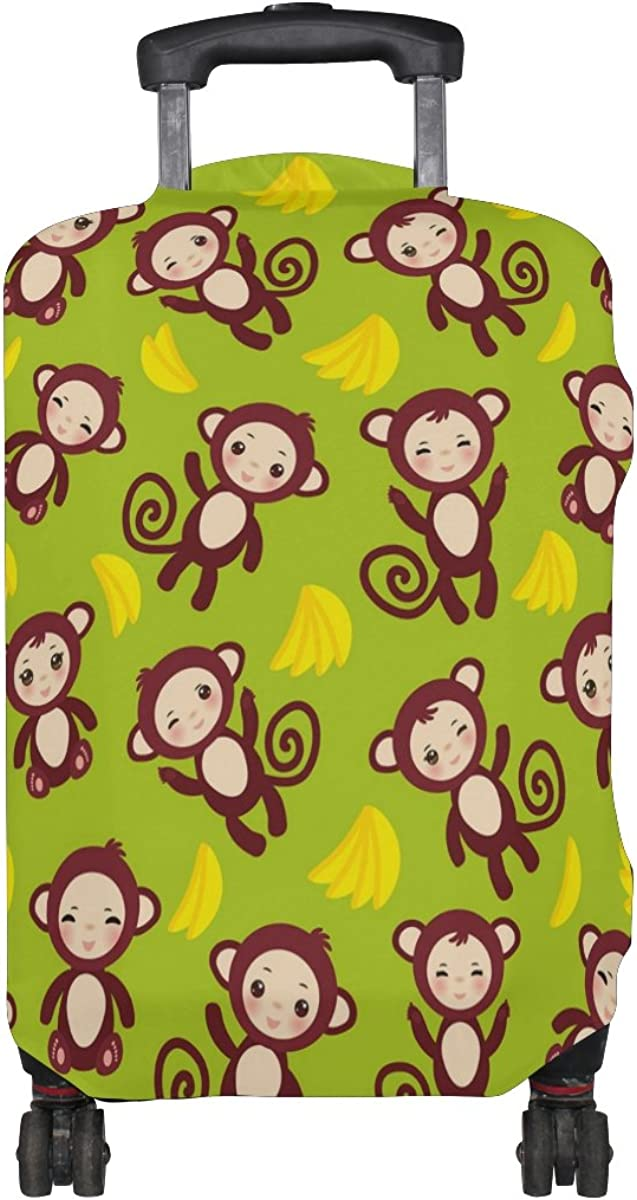 GIOVANIOR Funny Brown Monkey Yellow Banana Luggage Cover Suitcase Protector Carry On Covers