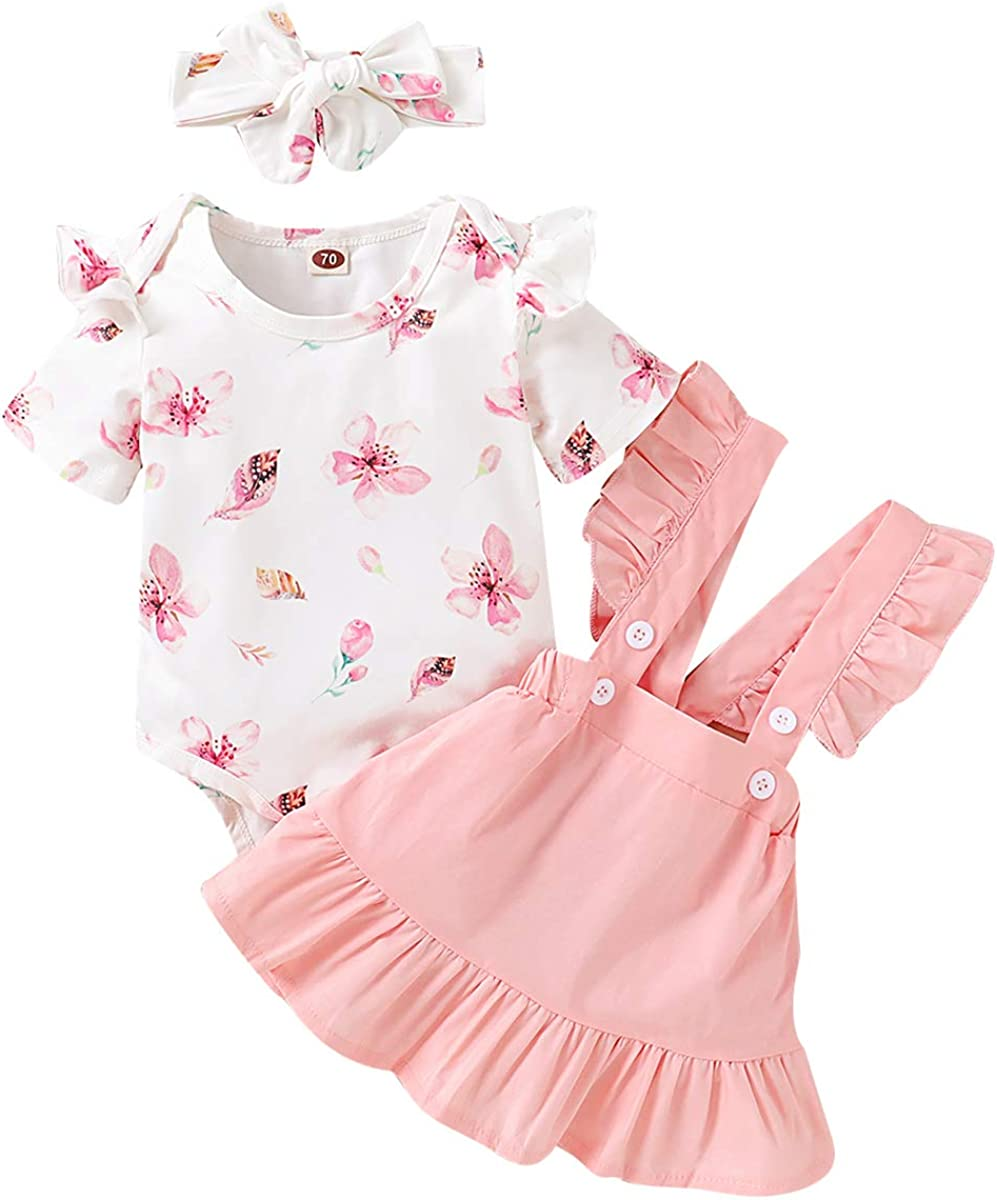 Camidy Baby Girl Short Sleeve Floral Romper Strap Skirt Headband 3PCS Outfit Set
