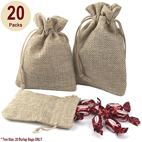 ADVcer Burlap Bags with Drawstring Set, 5.5 x 4 and 4.8 x 3.5, Sacks 20 for Small Favor, Gift, Treat, Goodie, Party, Jewelry, Little Sachet, Coffee Bean, Mini Decor, Craft, Candy, Tea Storage (Linen) (Mini Sachet)