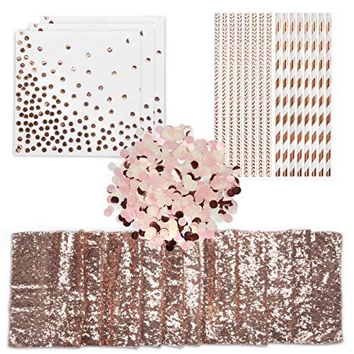Elegant Occasions Rose Gold Party Supplies - Curated Event Decor Set with Sequin Table Runner, 100x Eco-Friendly Rose Gold Straws, Rose Gold Confetti Decorations and 50x Disposable Rose Gold Napkins