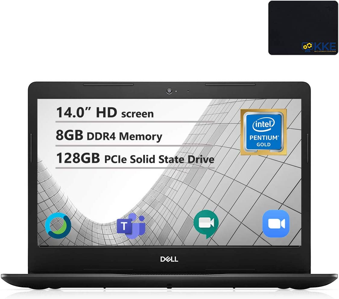 "Dell Inspiron 14"" HD Laptop, Intel 5405U Processor, 8GB DDR4 Memory, 128GB PCIe Solid State Drive, Online Class Ready, Webcam, WiFi, HDMI, Bluetooth, KKE Mousepad, Win10 Home, Black"