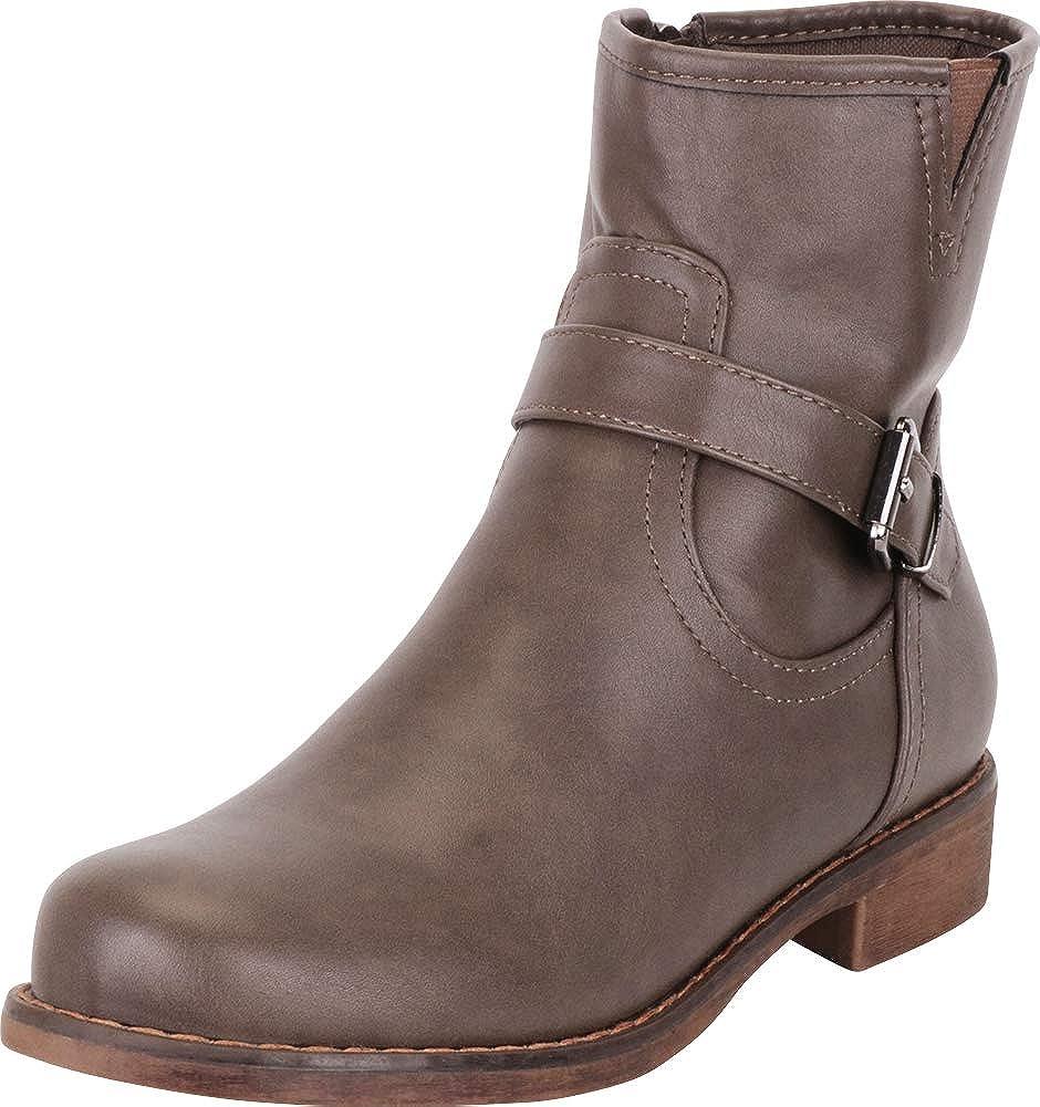 Avocado Pu Cambridge Select Women's Round Toe Buckle Strap Low Heel Moto Boot