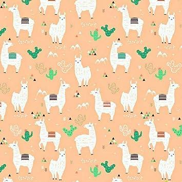 Dekostoff 100/% Baumwolle Kinderstoff Nähenf DIY Meterware Alpaka Lama Kaktus