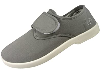 Dr Keller Mens Grey Canvas Velcro Pump Deck Shoes  Amazon.co.uk ... 86249d8d2