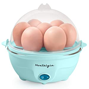Nostalgia EC7AQ Retro Premium 7 Capacity Electric Large Hard-Boiled Egg Cooker Poached, Scrambled, Omelets, Whites, Sandwiches, With Alarm, Aqua