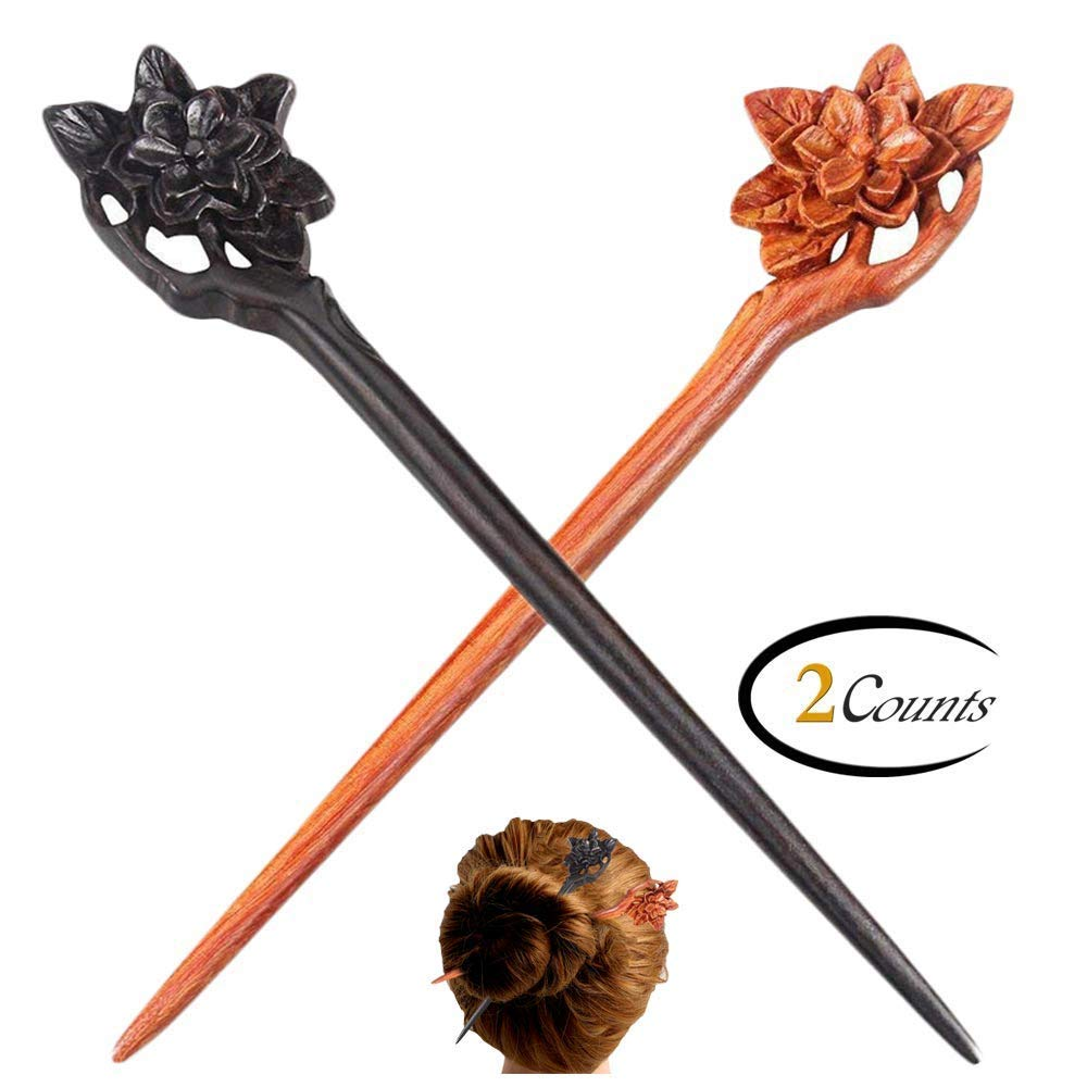 FINGER LOVE Handmade Carved Ebony and Rosewood Hair Stick: Flower (Ebony and Rosewood) by FINGER LOVE