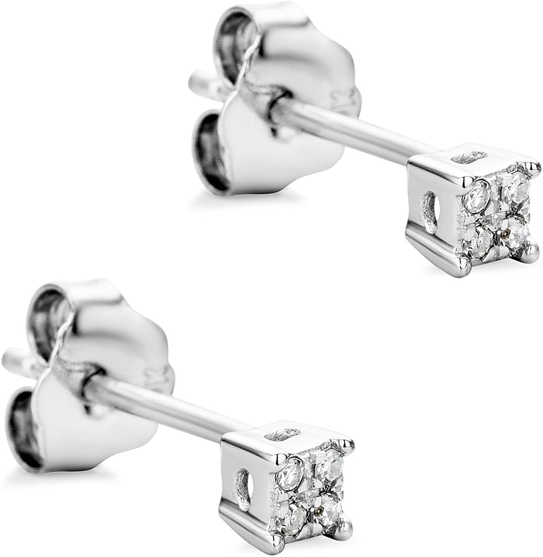 Orovi Pendientes Señora presión en Oro Blanco con Diamantes Talla Brillante Oro 9 Kt / 375