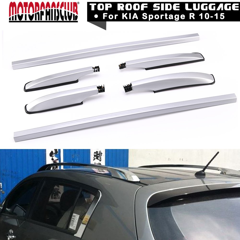 motorfansclubトップ屋根サイドレールラックCargo Luggageシルバー合金for Kia Sportage R 10 – 15 B071G7PP9Q