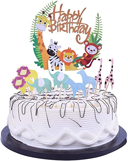 Fabulous Amazon Com Yuinyo Happy Birthday Cake Topper Animated Cartoon Funny Birthday Cards Online Inifodamsfinfo