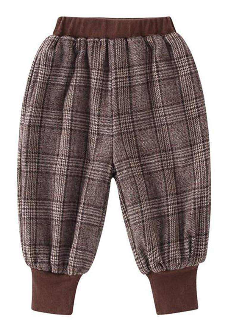 Cromoncent Big Boys Winter Warm Plaid Fleece Elastic Waist Sport Jogger Pants