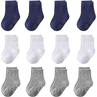 Akihi 12 Pares para Algodón Bebé Niña Niño Calcetines Cortos, Calcetines Antideslizantes para Niñito Niños Niñas Recién…
