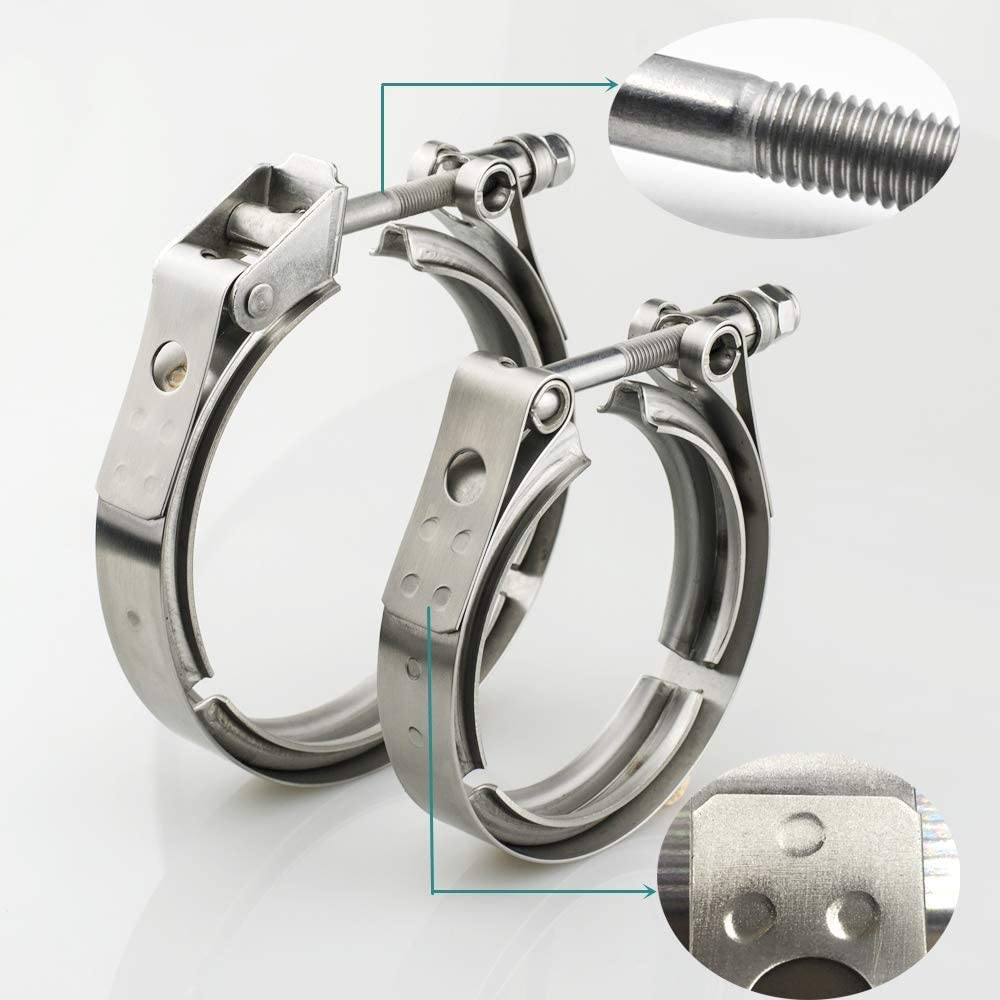 JXY 1.5 Inch Exhaust V Band Clamp 1.5 Stainless Steel 304 Quick Release V-Band Turbo Downpipe Clamp