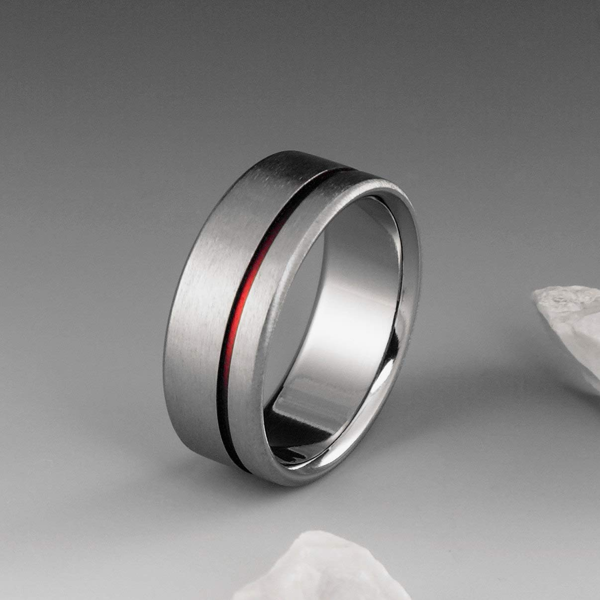 Amazon Red String Of Fate Titanium Ring With Off Center Stripe Mens Or Womens Wedding Band Simple Handmade Custom: Red String Wedding Rings At Reisefeber.org
