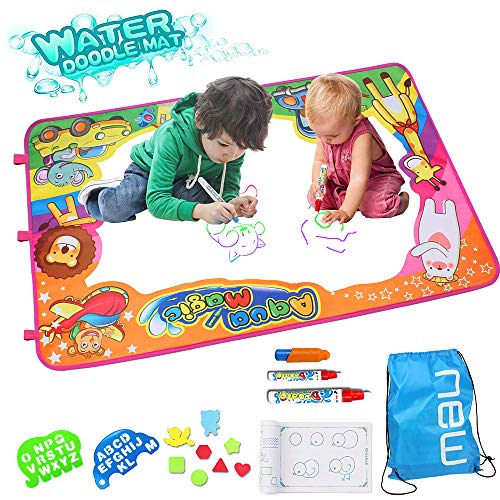 Special Processing Water Doodle Mat, Kids Toys Mess Free Coloring Mat Toddler Educational Toys Large Size Aqua Magic Painting Mat with 3 Magic Pen for Boys Girls Toddler Ages 2 3 4 5 6+