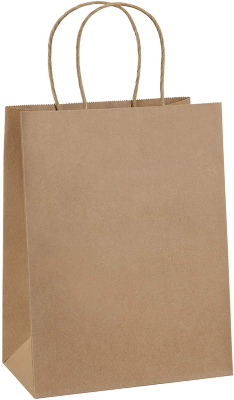 BagDream 50Pcs Gift Bags 8x4.25x10.5 Brown Paper Gift Bags with Handles Bulk, Paper Bags, Shopping Bags, Kraft Bags, Retail Bags, Party Bags