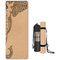 Kork yogamatta halkfri unik design naturlig kork tpe material fitness träningsmatta med bärväska och rem för hem…